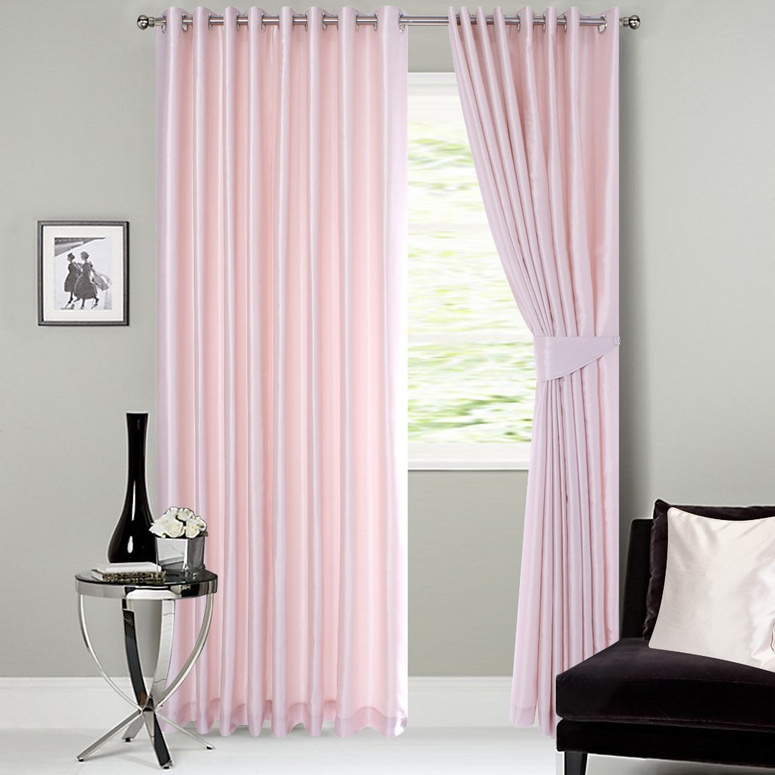 Faux Silk Ready Made Curtains